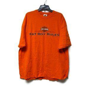 2006 Harley Davidson Fat Boy Rules orange shirt